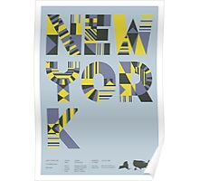 Typographic New York State Poster Poster