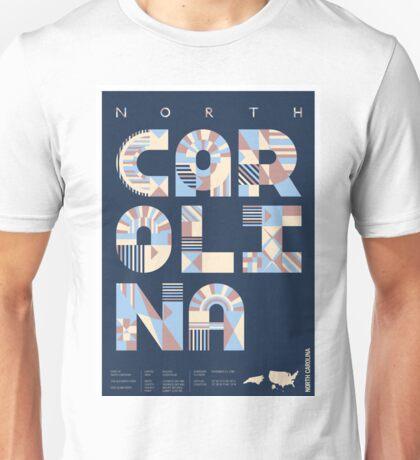 Typographic North Carolina State Poster Unisex T-Shirt
