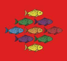 Rainbow Fishes One Piece - Short Sleeve