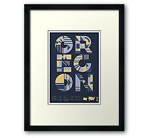 Typographic Oregon State Poster Framed Print