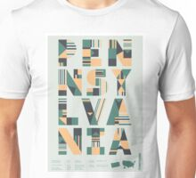 Typographic Pennsylvania State Poster Unisex T-Shirt