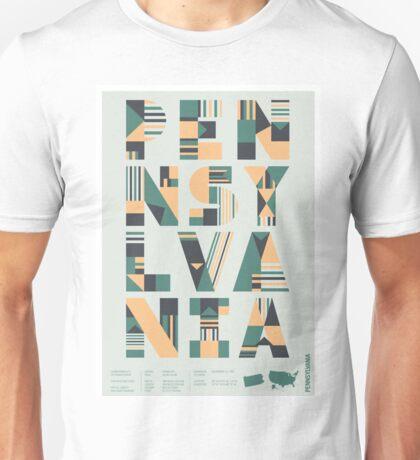 Typographic Pennsylvania State Poster Unisex T-Shirt