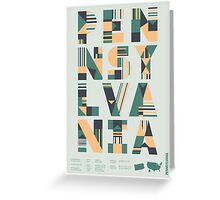 Typographic Pennsylvania State Poster Greeting Card