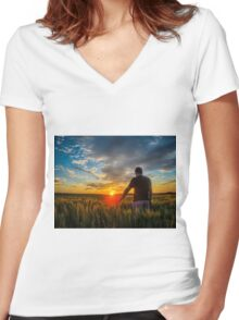 Countryside Sunset Women's Fitted V-Neck T-Shirt