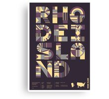 Typographic Rhode Island State Poster Canvas Print