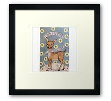 Christmas deer with merry christmas happy New year banner Framed Print