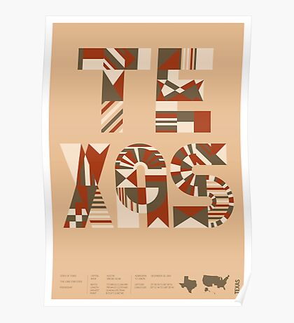 Typographic Texas State Poster Poster