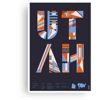 Typographic Utah State Poster Canvas Print