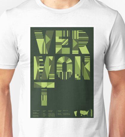 Typographic Vermont State Poster Unisex T-Shirt