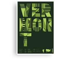 Typographic Vermont State Poster Canvas Print