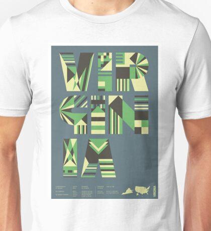 Typographic Virginia State Poster Unisex T-Shirt