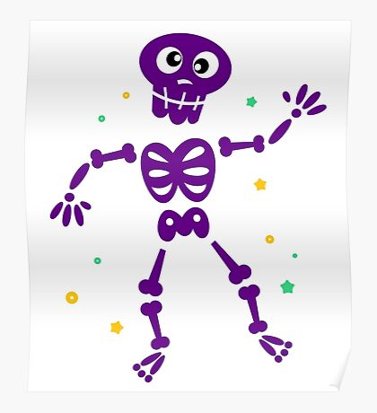Funny Skeleton isolated on white / purple edition Poster