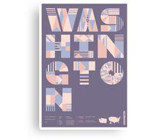 Typographic Washington State Poster Canvas Print