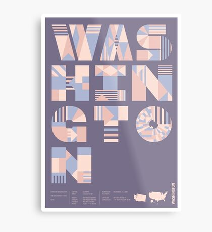 Typographic Washington State Poster Metal Print