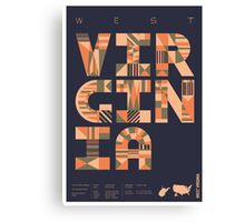 Typographic West Virginia State Poster Canvas Print