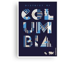 Typographic District of Columbia State Poster Canvas Print