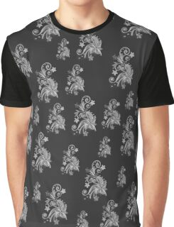 Gray flowers on black, ornament, asymetric floral design Graphic T-Shirt