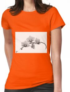 Digital Oil Painting Orchid Womens Fitted T-Shirt