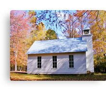 LITTLE COUNTRY CHAPEL & COLORFUL FALL FOLIAGE Canvas Print