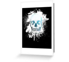 Blue Skull Splatter Greeting Card