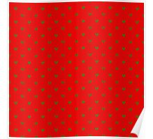 Red and Green Nordic Christmas Knit Pattern with Chevrons Poster
