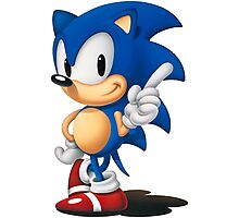 The Classic Blue Hedgehog (white background) Photographic Print