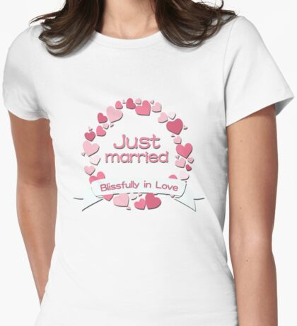 Just Married Blissfully in Love Womens Fitted T-Shirt