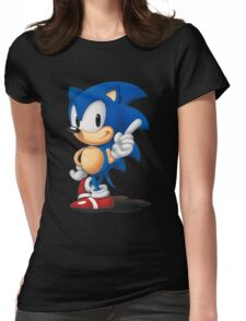 The Classic Blue Hedgehog (black background) Womens Fitted T-Shirt