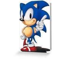 The Classic Blue Hedgehog (black background) Greeting Card