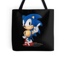 The Classic Blue Hedgehog (black background) Tote Bag