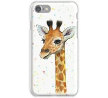 Baby Giraffe with Hearts Watercolor Animal iPhone Case/Skin