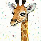 Baby Giraffe with Hearts Watercolor Animal by Olga Shvartsur