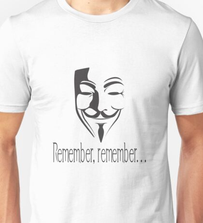 'Remember, remember' Guy Fawkes Unisex T-Shirt