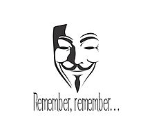 'Remember, remember' Guy Fawkes Photographic Print