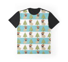 Pugs and Christmas Trees Graphic T-Shirt