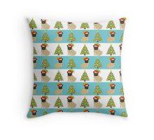Pugs and Christmas Trees Throw Pillow