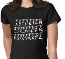 Christmas Lights Alphabet From Stranger Thing T-Shirt Womens Fitted T-Shirt