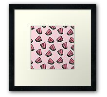 Kawaii Watermelon Pattern Framed Print