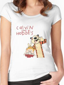 Calvin and Hobbes Funny Face Women's Fitted Scoop T-Shirt