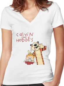 Calvin and Hobbes Funny Face Women's Fitted V-Neck T-Shirt