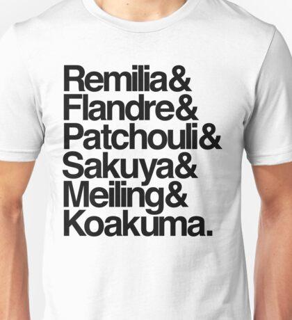 Scarlet Devil Mansion Helvetica List [Black Text] Unisex T-Shirt