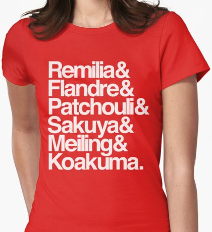Scarlet Devil Mansion Helvetica List [White Text] Womens Fitted T-Shirt