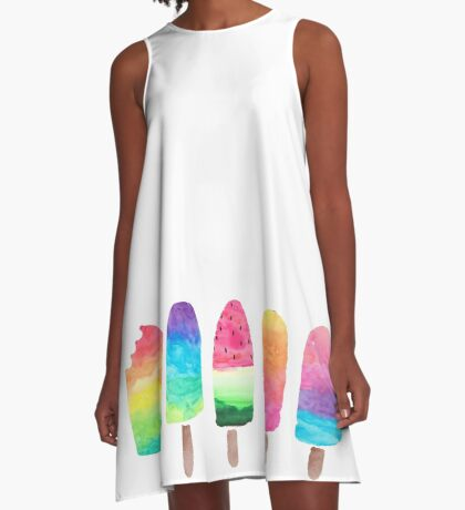 Watercolor Ice Lollies A-Line Dress