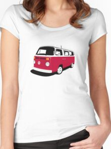 VW Camper Late Bay dark red and white Women's Fitted Scoop T-Shirt