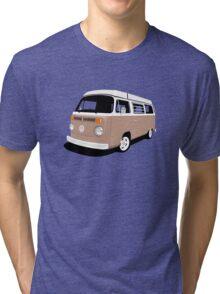 Vw Camper Late Bay tan and white Tri-blend T-Shirt