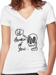 8bit thinking of u  Women's Fitted V-Neck T-Shirt