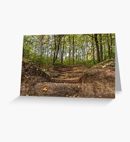 Stairs dug earth in forest Greeting Card