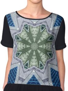 Blue And Green Abstract Chiffon Top