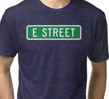 E Street, vintage street sign (color version) Tri-blend T-Shirt