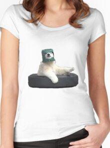 Bucket bear - Polar Bear meme Women's Fitted Scoop T-Shirt